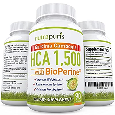 NEW EXCLUSIVE FORMULA 100% PURE HCA Garcinia Cambogia With BioPerine 1500mg Of HIGHEST POTENCY HCA Plus Higher Absorption Of BioPerine - Slim Fast Weight Loss Supplement 100% Happiness Guarantee!