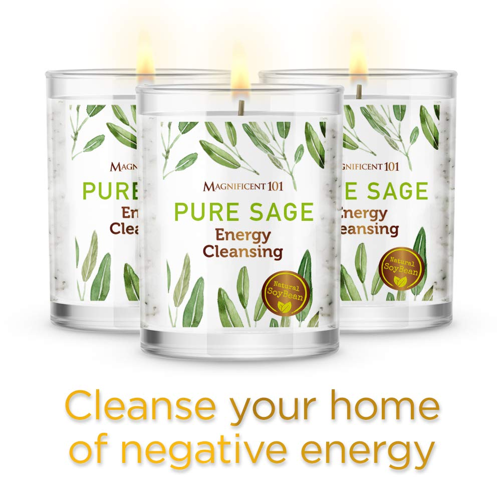 Natural Soy Wax Candles for Aromatherapy Banish Negative Energy I Purification and Chakra Healing Pure Sage Magnificent101 Pure Sage Smudge Set of 3 Candles for House Energy Cleansing