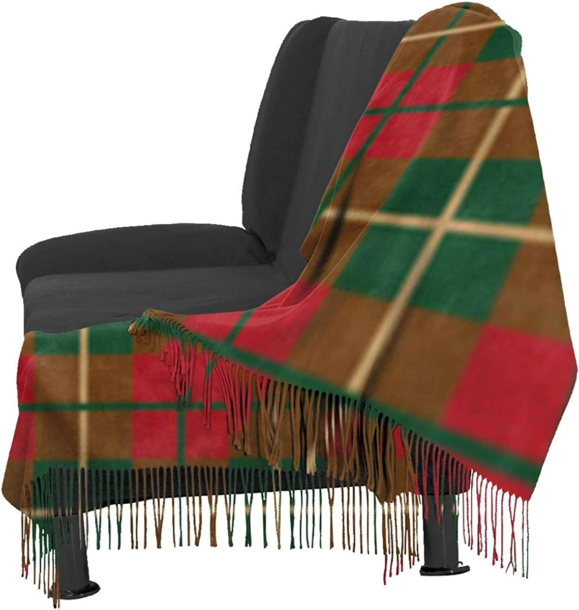 Soft Cashmere Scarf For Women Brown Abstract Scottish Plaid Pattern Green Argyle Arts Beauty Checked Fashion Lady Shawls,Comfortable Warm Winter Scarfs