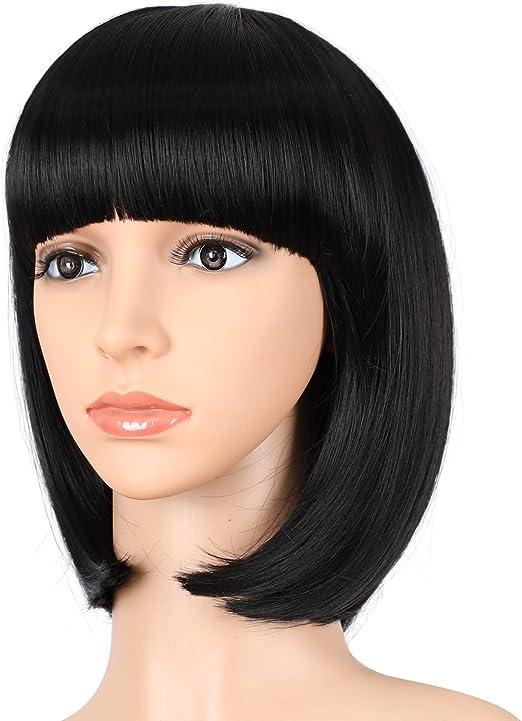 Peluca corta de pelo sintético Alicia de 30,5 cm con flequillo ...