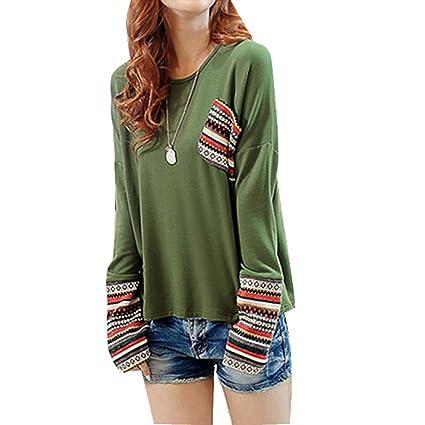 Susenstone Blusas de manga larga mujer blusa de cuello camisa floja marcada redondo (EU: