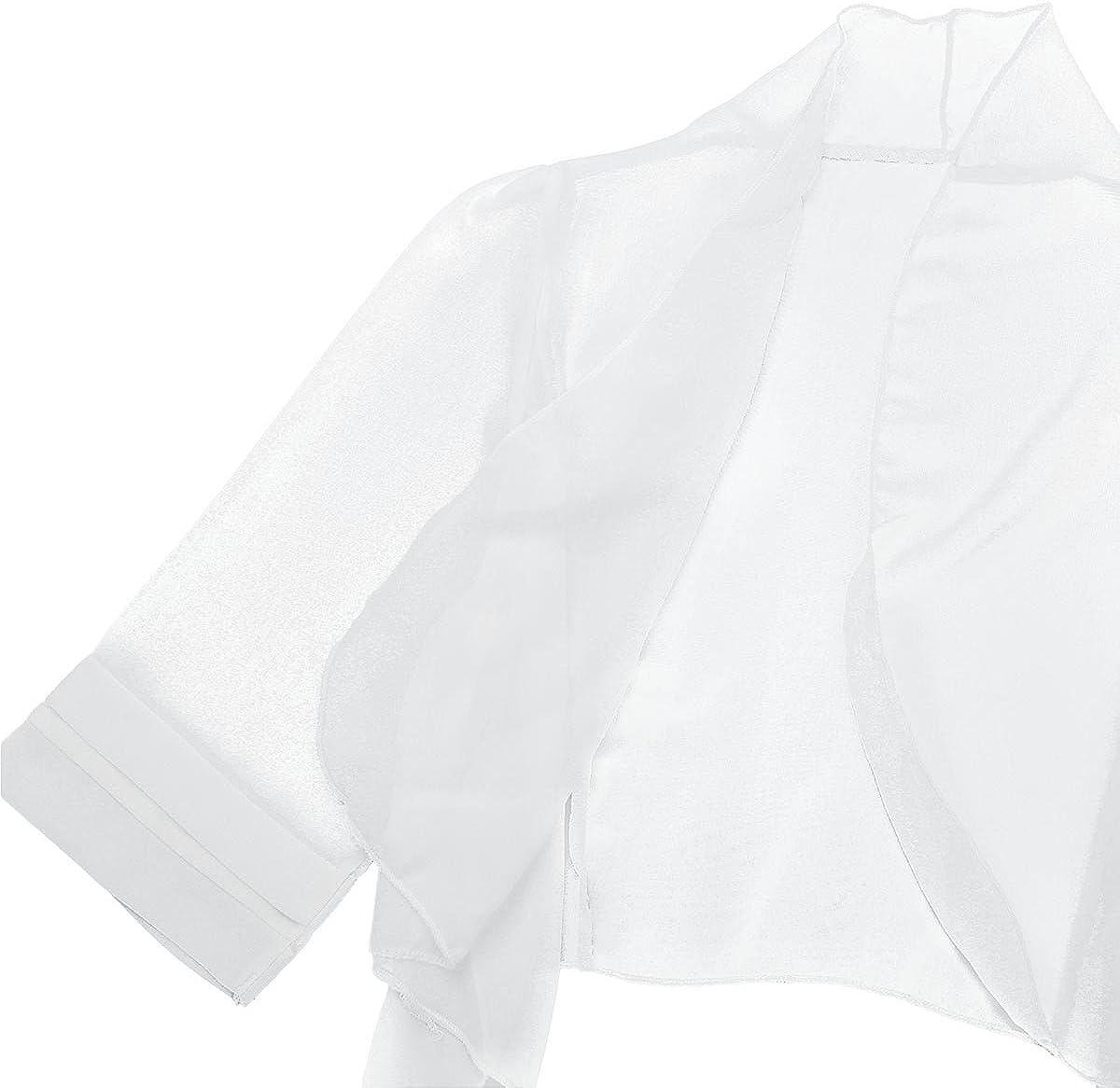 TiaoBug Bolero Donne Cardigan Corto in Chiffon Fresco Coprispalle Cappotto Leggero Giacca Corta op Bluse e Camicie da Donna Body Elegante Camicia Morbido