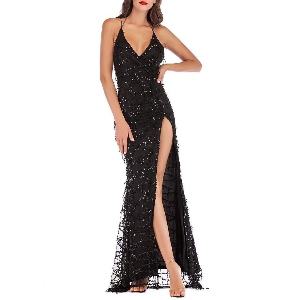 Onegirl Women's Sexy Sling Low-Cut Bare Back Sequin Tassel Split Long Dress Nightclub Party Sleeveless Dresses Black