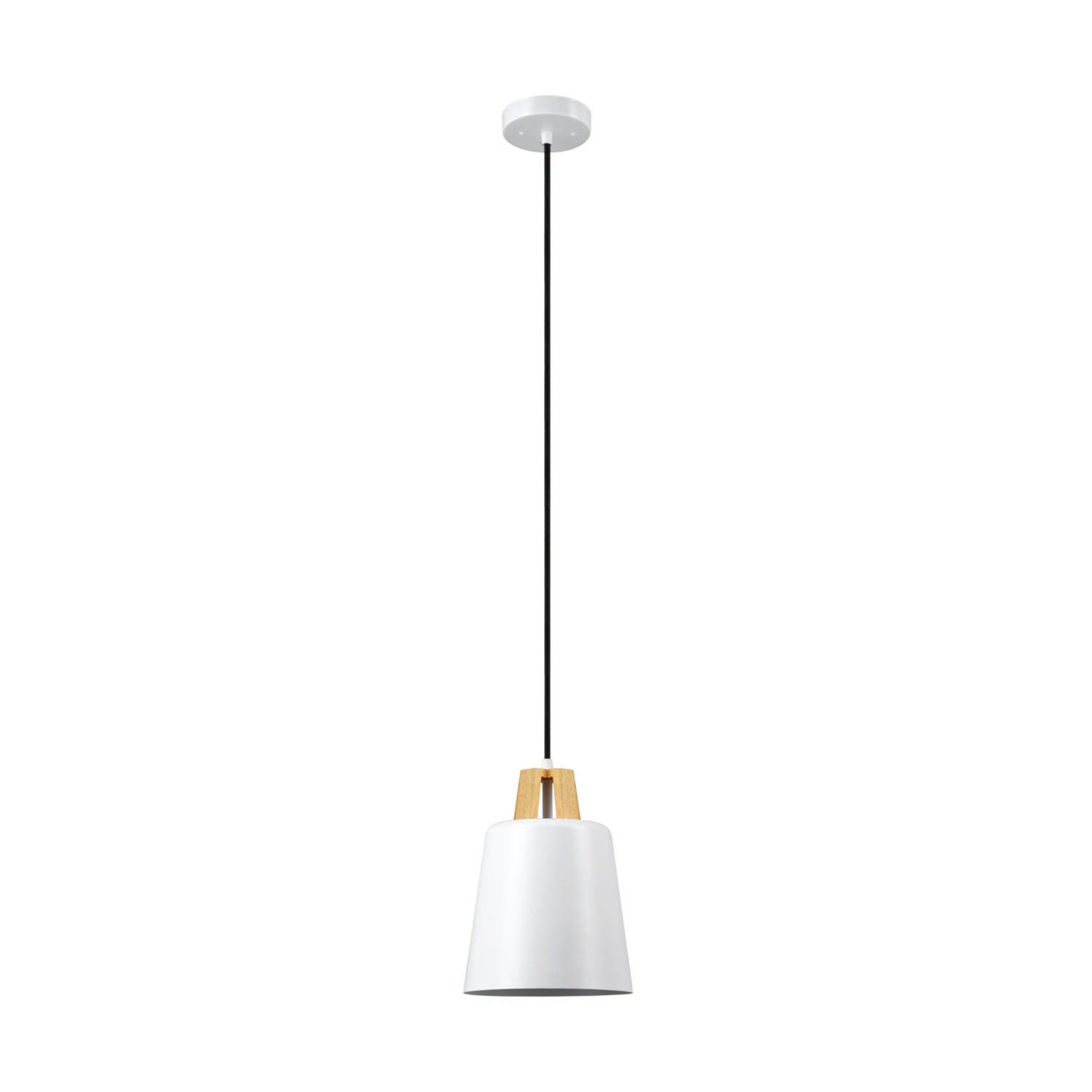 Globe Electric Jeor 1-Light Pendant, White Finish, Faux Wood Accent, 65431 by Globe Electric (Image #1)