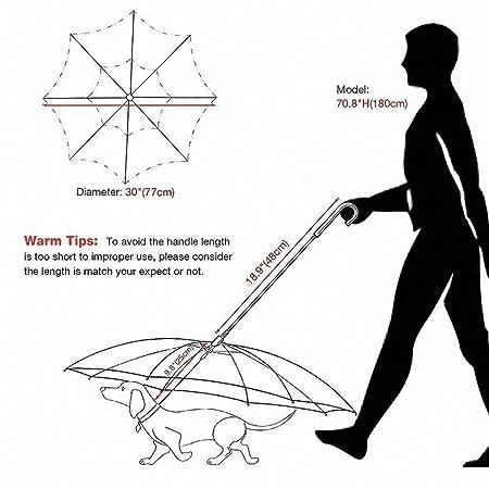 KOBWA - Paraguas para Mascotas con Correa de Montaje para Cachorros Que protegen de la Lluvia, Nieve, la Humedad y la Intemperie, Transparente, ...