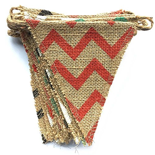 dealzEpic Colorful Rustic Burlap Banner with Chevron Pattern for Country Style Decoration | Yard/Garden Decoration/For Indoor and Outdoor Use -