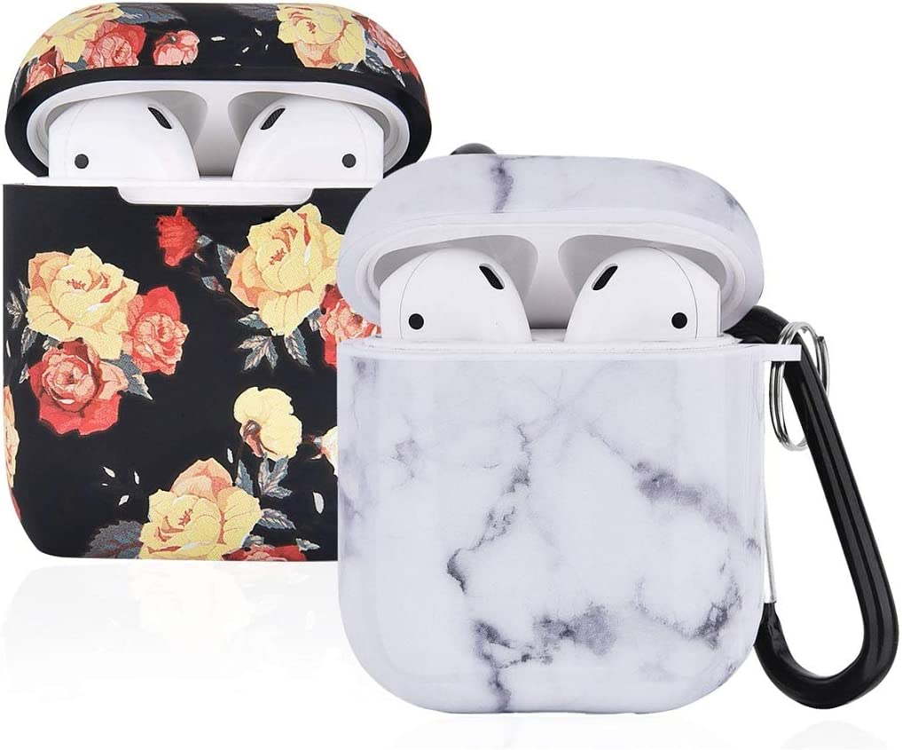(2 Pack) Compatible with AirPod Case Cover, I.P 2 in 1 Marble + Floral Cute Case Protective Cover with Keychain Compatible with Apple AirPods Charging Case 2&1 for Girls Women Men, Black & White