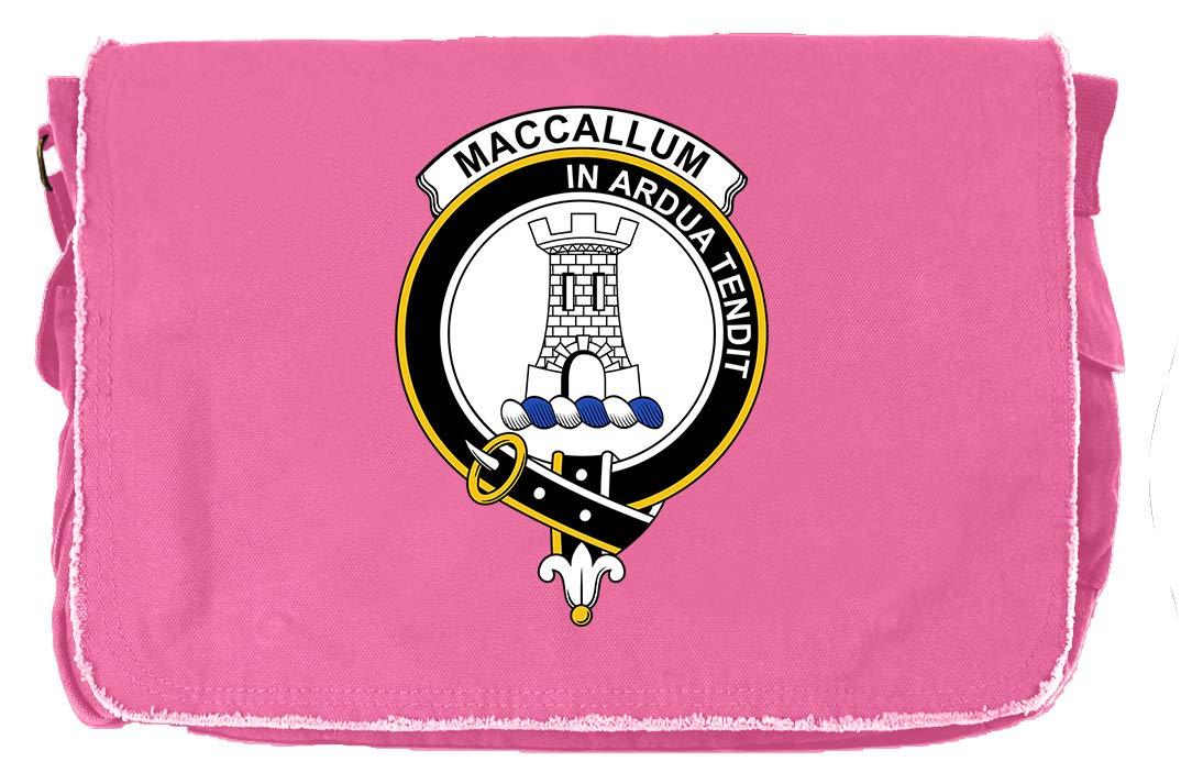 Tenacitee Scottish Clan Crest Badge MacCallum Khaki Green Raw Edge Canvas Messenger Bag
