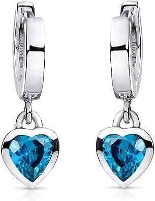 925 plata pendientes corazones 1 par de 7 mm de tamaño con circonita piedras