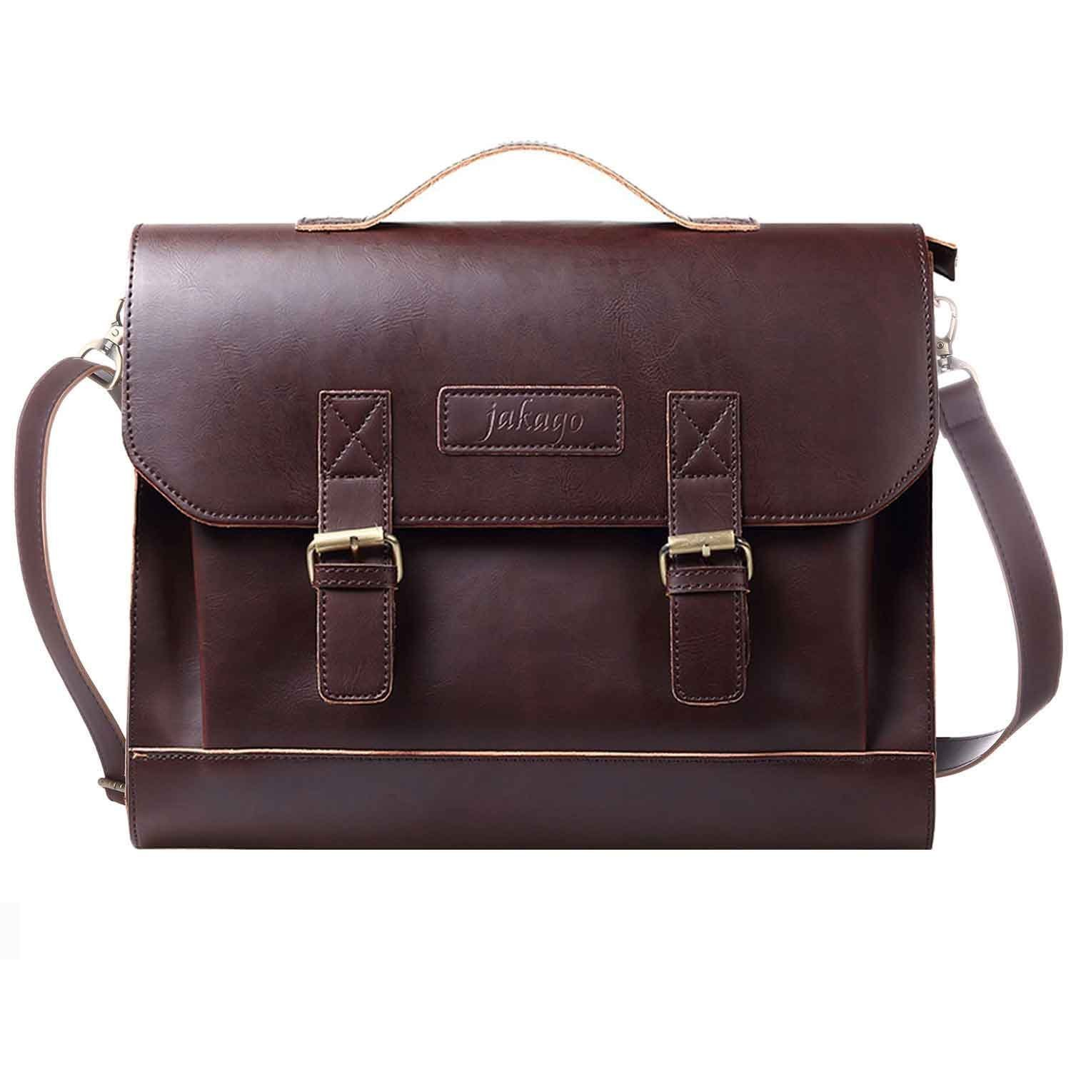 JAKAGO Retro Leather Briefcase Satchel Tote Messenger Shoulder Bag Laptop Bag Handbag Crossbody Bag for Men and Women (brown)