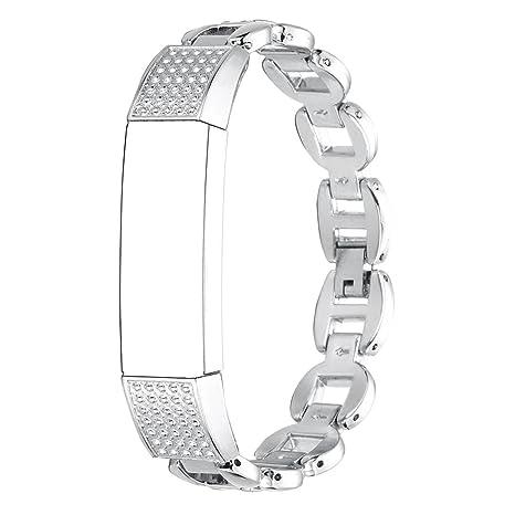 Bracelet Fitbit Alta HR, Rosa Schleife®Montre Connectée Bracelet Femme Acier inoxydable Or Rose