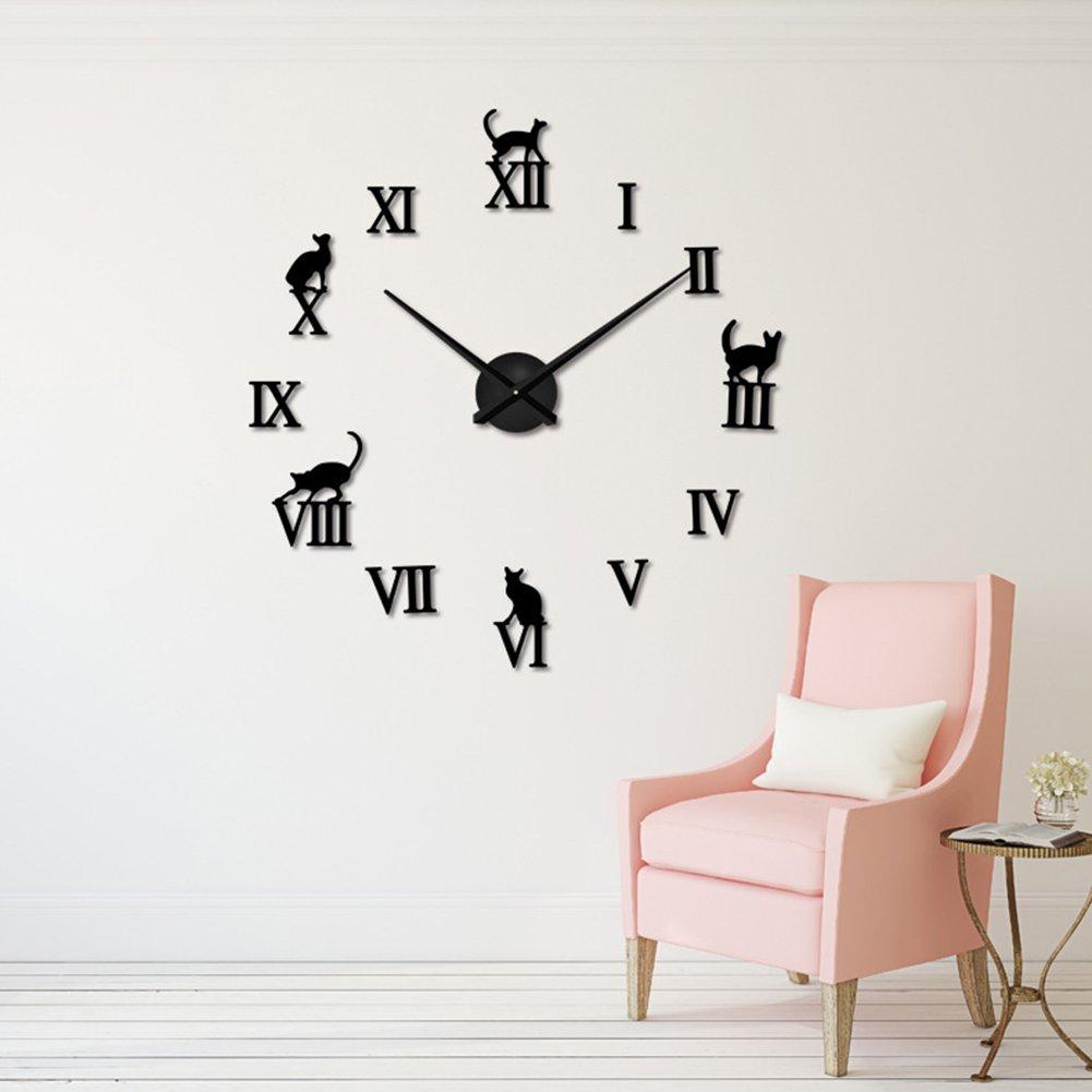 現代DIY大型壁時計3Dミラービッグウォッチステッカーホームインテリアウォールステッカー時計ギフトゴールド、シルバー、ブラック (色 : ブラック) B07DMJ6223ブラック