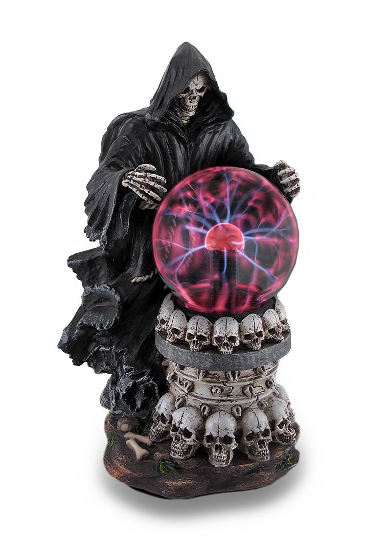 Resin Indoor Figurine Lamps Destroyer Of Worlds Grim Reaper Plasma Crystal Ball Accent Lamp 6.5 X 12 X 6 Inches Black