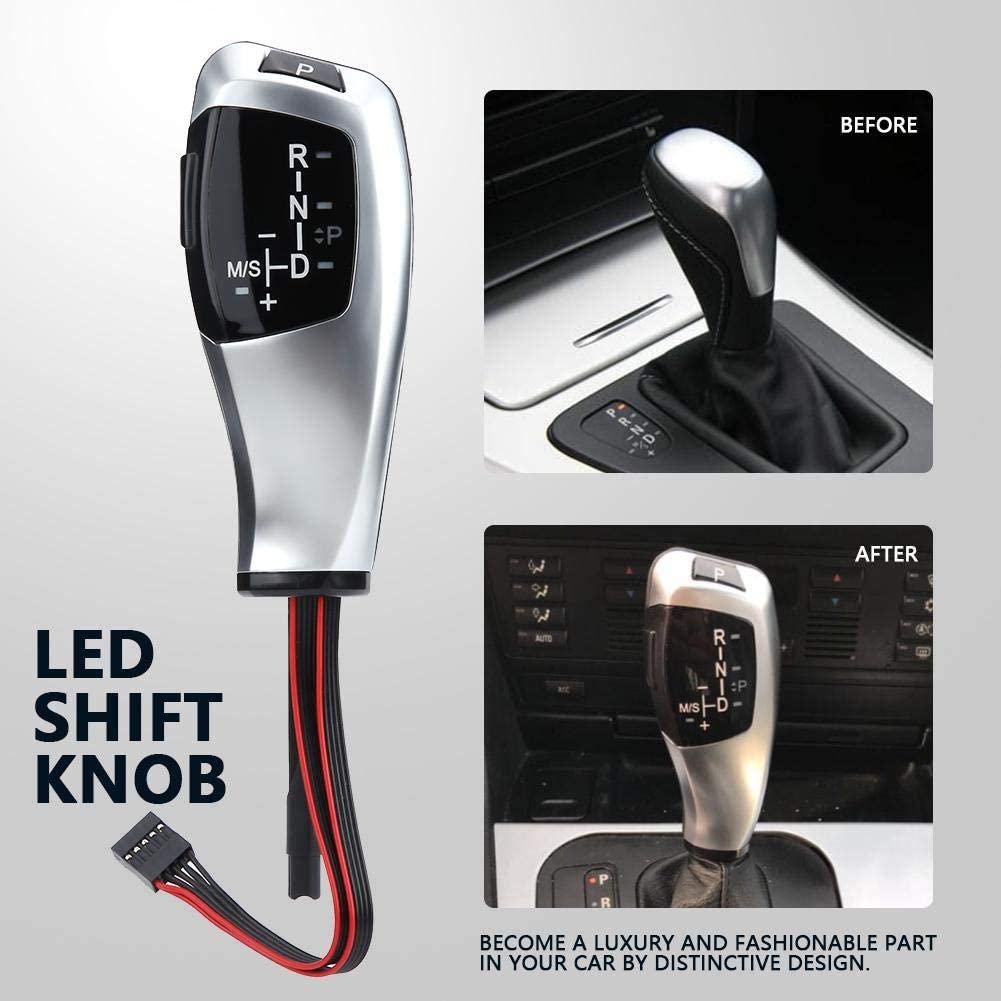 LHD Automatic LED Gear Shift Knob Fitment for BMW E90 E91 E93 E81 E82 E84 E87 E88 E89 Silver Jet Black LED Shift Knob