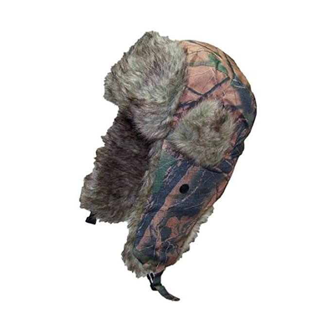 58d43bf0c Faux Fur Aviator Hat Wood Camouflage