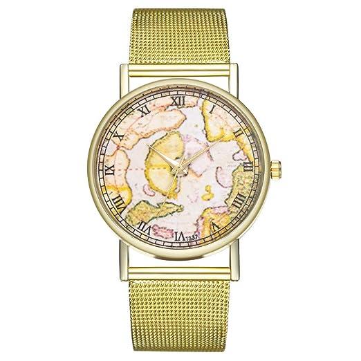 Reloj de pulsera para mujer con correa de malla redonda y mecanismo de cuarzo. b