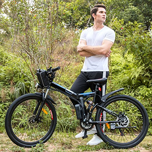 26' Adult Mountain Bike (Folding 26'' Electric Mountain Bike, Lithium-Ion Battery (36V 250W), Premium Full Suspension and Shimano Gear … (black))