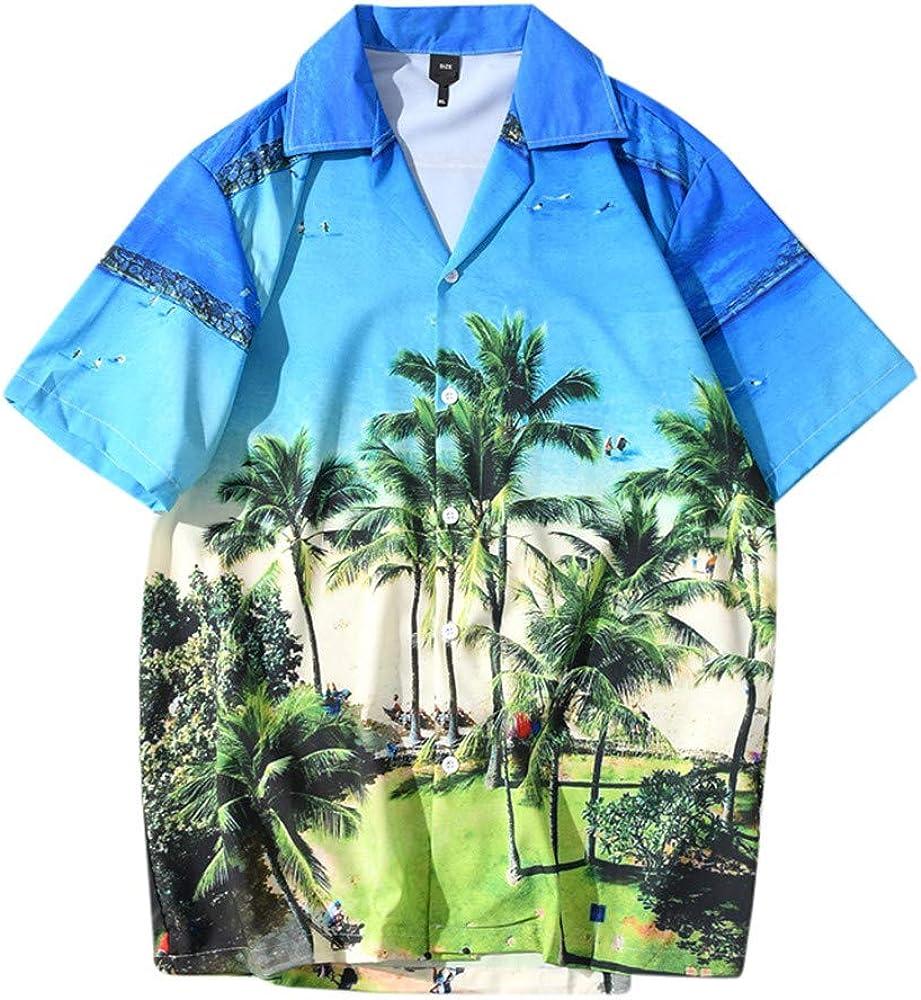 Mens Fashion Button Up Printed Shirt Loose Fit Short Sleeve Casual Button Down Beach Shirts Tee