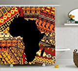 Ambesonne African Decor Shower Curtain by, Abstract Art Style Africa Map on Ethnic Carpet Background Illustration, Fabric Bathroom Decor Set with Hooks, 70 Inches, Black and Orange