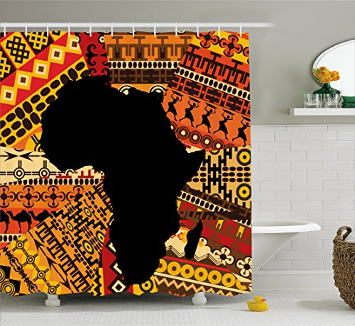 Ambesonne African Decor Shower Curtain by, Abstract Art Style Africa Map on Ethnic Carpet Background Illustration, Fabric Bathroom Decor Set with Hooks, 84 Inches Extra Long, Black and Orange