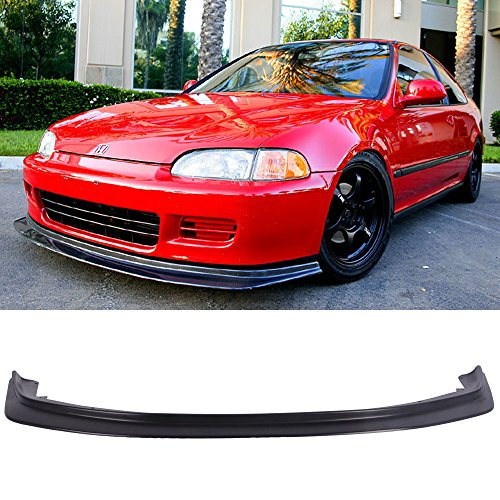 Front Bumper Lip Fits 1992-1995 Honda Civic | Black PU Front Lip Finisher Under Chin Spoiler Add On by IKON MOTORSPORTS | 1993 1994