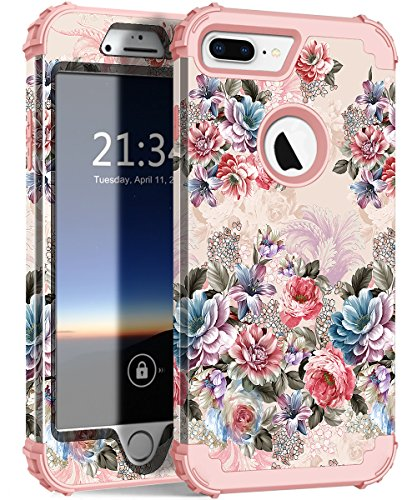 iPhone 7 Plus Case, Hocase Drop Protection Shock Absorbing Silicone Bumper+Hard Shell Hybrid Dual Layer Full-Body Protective Case for Apple iPhone 7 Plus 5.5 - Peony Flowers/Rose Gold Pink