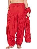 Charu Boutique Women's Cotton Patiyala and Dupatta set