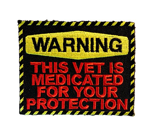 WARNING...THIS VET IS MEDICATED Embroidered Patch 3 inch - Vet Drug