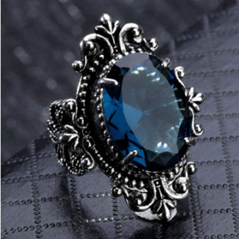 LMK Anillo de Piedra Azul Marino con Forma de Huevo de Ganso Cristal Regalo de joyería de Fiesta de Compromiso de Boda Femenina