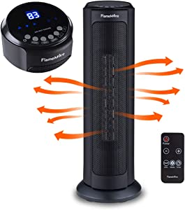 "Oscillating Tower Space Heater, 22"" Portable Heater with Remote Control, Adjustable Thermostat 1500W Tip-over & Overheating Safety Cut-off, 12H Timer for Indoor Use Home office Black"