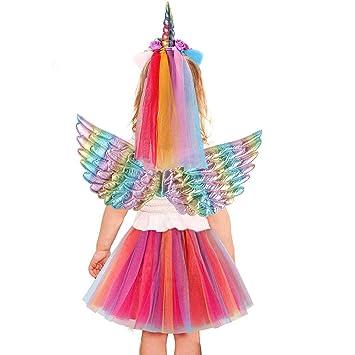 vamei Disfraz de Unicornio Niña Fiesta de Tul Tutu Disfraz ...