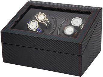 WCX Caja Giratoria para Relojes, Caja Enrollador Reloj, para 4 Relojes Automáticos 6 Vitrina Almacenamiento Reloj Pulsera, Estuche Almacenamiento para Relojes Exhibición (Color : B): Amazon.es: Relojes