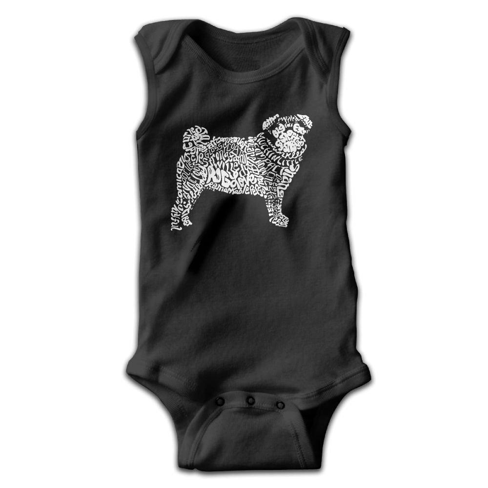 Pug Dog Word Art1 Infant Baby Boys Girls Crawling Suit Sleeveless Onesie Romper Jumpsuit Black