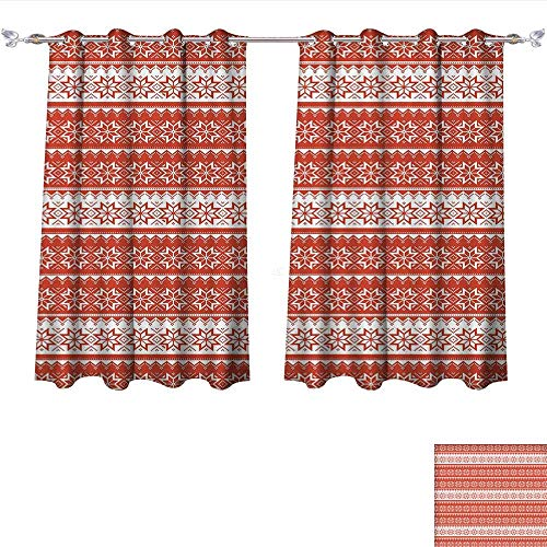 Total Blackout Grommet CurtainsNordic,Norwegian Swedish Traditional Motifs Stitch Needlework Pattern Vintage Image,Vermilion White 3 Layers High Density & Noise Reduction Fabric W72