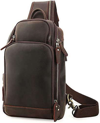 New Men/'s Leather Shoulder Sling Bag Sport Pouch Pack Chest Bag w//USB Interface