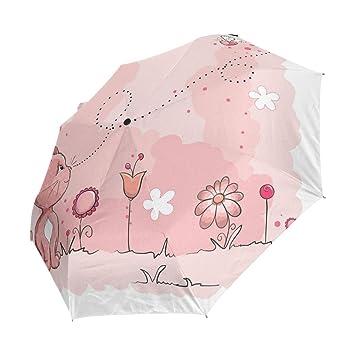 XiangHeFu - Paraguas con diseño de Gato y Abeja, Cierre automático, 3 Pliegues, Ligero, antiUV: Amazon.es: Deportes y aire libre