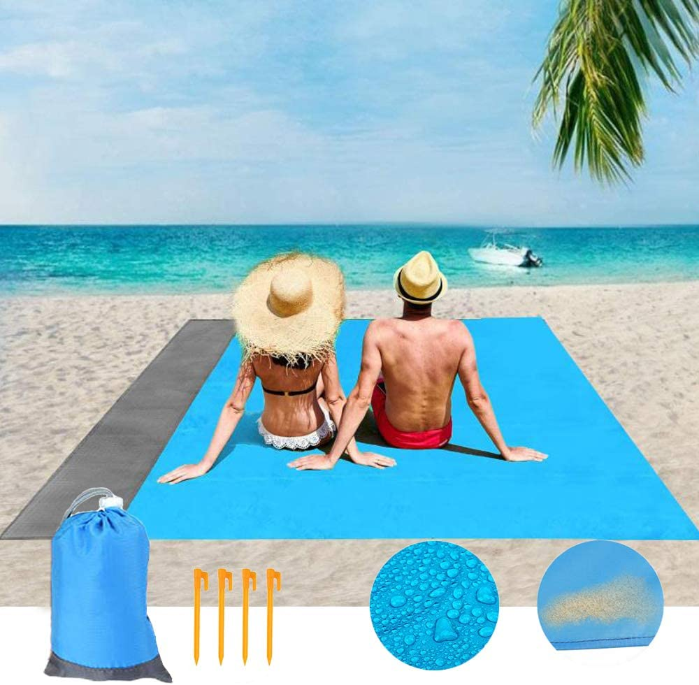 83 x 79 Inch Oversized Waterproof Sandproof Beach Mat Picnic Blanket with Storage Pocket and Stakes for Travelling Hiking Beach Blanket Camping