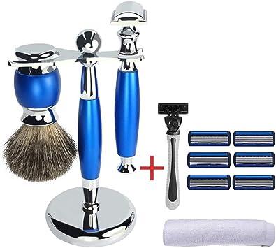 Brocha de afeitar y conjunto de maquinillas de afeitar, luckyin El mejor pelo de tejón Mango de madera azul ...