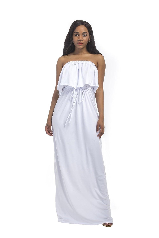 Kunzhang Dress Wrap Chest Large Size OffShoulder Dress White, 2Xl