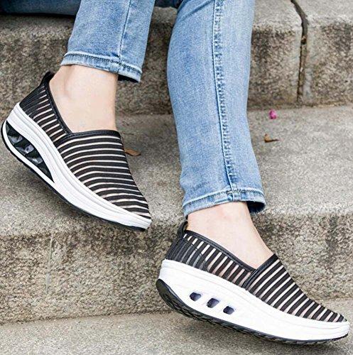 Negro Corriendo Gruesos Fondo Ocasionales Tamaño de Deportivos Malla 35 de 40 atléticos Zapatos Las Respirables de Zapatos Mujeres Zapatillas SPpxUYvwqn