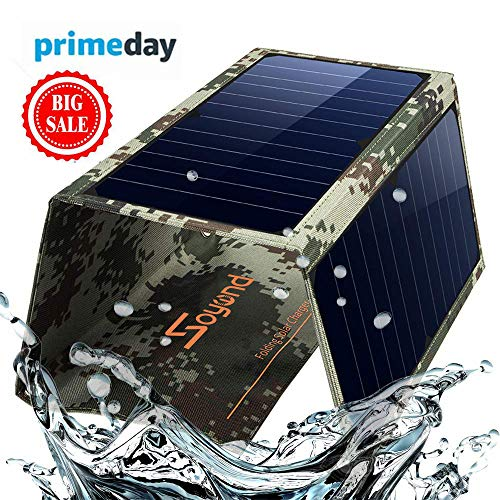 Solar Phone Charger Foldable Panel-Dual USB Solar Charger 22W Portable Waterproof Solar Power Charger for Camping & Outdoors Travel for iPhone X, 8 & 8 Plus, iPad Pro Air 2 Mini, Galaxy(Camouflage)]()