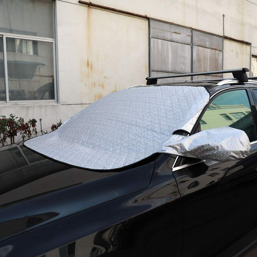 Car Windshield Cover Magnetic Windshield Snow Cover with Two Mirror Covers Ultra Thick Protective Windscreen Cover Snow Ice Frost Sun UV Dust for Cars All Years