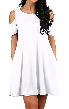 a22280e3b7de Amazon.com  OFEEFAN Women s Summer Cold Shoulder Tshirt Swing Dress ...