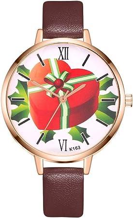 Mujeres Patrón de Navidad caja de regalo reloj analógico de cuarzo estilo casual de piel Reloj con brazalete del reloj de pulsera de Navidad Construido para la decoración del hogar del partido: