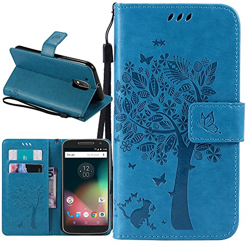 Moto G4 Play Case, Harryshell Caving Tree Kickstand Flip PU Wallet Leather Protective Case Cover with Card Slot & Wrist Strap for Motorola Moto G Play Version (2016) / G4 Play (Blue)