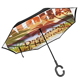 "Kgblfd Vintage Halloween Inverted Umbrella Travel Compact, Raven Owl Spider Windproof UV Protection Umbrella, 42.5""x31.5""Inch"