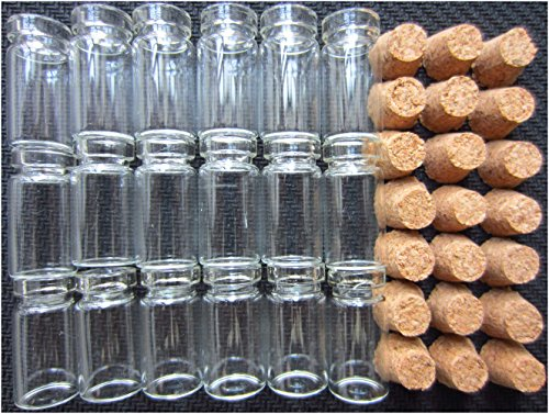 LeBeila 1ml Mini Glass Jars with Cork Stoppers Clear Small Vials Tiny Bottles with Corks Lids for Messages, Miniature, Wedding, Wish, Jewelry, Party Favors, DIY Arts, Crafts Decoration (50pcs, 1 ml)