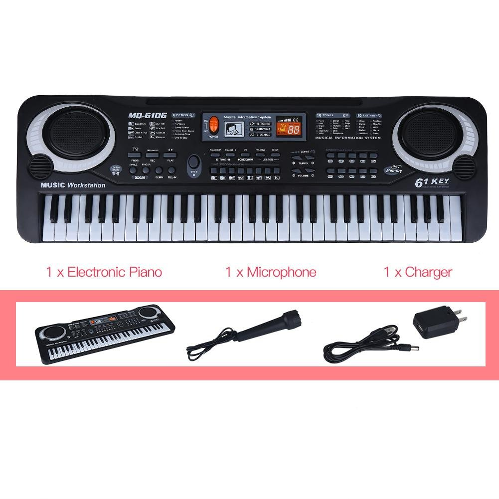 lyrlody Electronic Piano 61 Key Electric Digital Keyboard Piano with Microphone Portable Musical Instruments Toy for Adults Kids Children Boy Girl by lyrlody (Image #6)