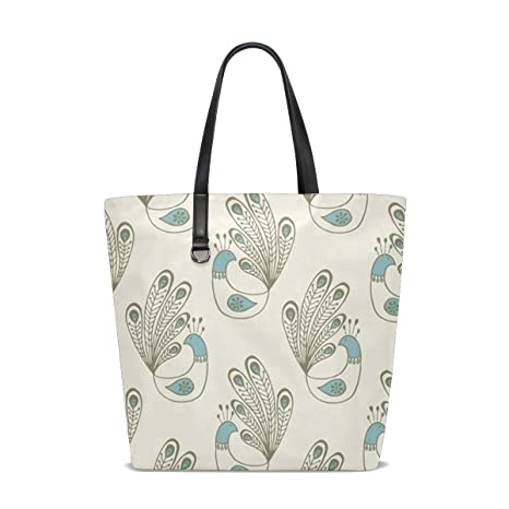 Amazon.com   Peacock On Cream Tote Bag Purse Handbag Womens ...