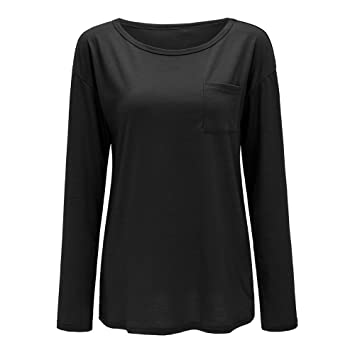 Niña otoño fashion carnaval,Sonnena ❤ Camisa de manga larga sólida con bolsillos para
